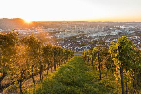 Germany, Baden-Wuerttemberg, Stuttgart, Untertuerkheim and Bad Cannstatt against the sun, Mercedes-Benz Factory and and Mercedes-Benz Arena - WDF05187