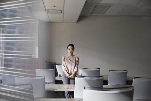 Portrait confident businesswoman in office classroom - HEROF26582