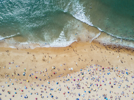 Aerial view of people enjoying at beach during sunny day - CAVF62108