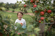 Portrait of cute smiling girl standing by fruit trees at farm - CAVF62144