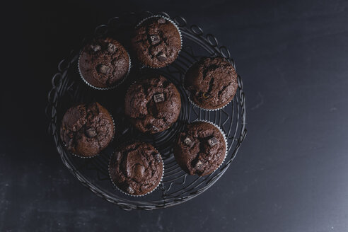 Chocolate muffins on cake stand - STBF00226