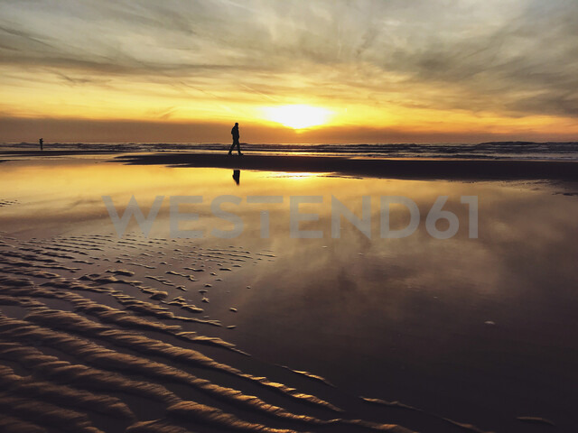 Belgium, Flanders, North Sea Coast, man walking along tide pool watching sunset and ocean waves, listening to the ocean sounds - GWF05906 - Gaby Wojciech/Westend61