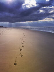 Belgium, Flanders, North Sea Coast, foot prints on beach with dramatic clouds and sunbeams - GWF05909