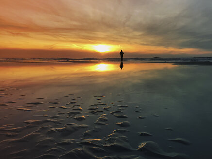 Belgium, Flanders, North Sea, Coast, man standing on beach, watching sunset, listening to oceansounds - GWF05921