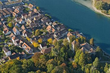Switzerland, Thurgau, Gottlieben, Aerial view of Seerhein and Wollmatinger Ried - SH02080