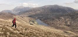 UK, Scotland, Onich, Beinn Na Gucaig, woman hiking in mountain scenery - ALRF01430