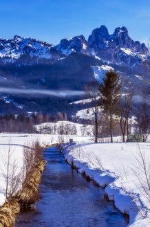 Austria, Tyrol, Tannheim Valley, River in winter - THAF02488
