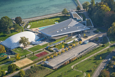 Germany, Baden-Wuerttemberg, Lake Constance, Constance, aerial view of outdoor pool - SH02111