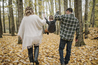 Rear view of playful parents swinging son while holding his hands on leaves in forest during autumn - CAVF62808