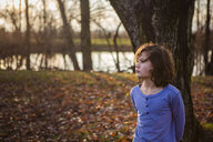 Thoughtful boy looking away while standing against tree trunk in park during autumn at sunset - CAVF62940