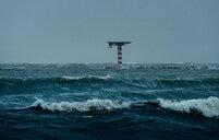 Large waves crashing on dutch shore on stormy day, Rotterdam, Zuid-Holland, Netherlands - CUF49570