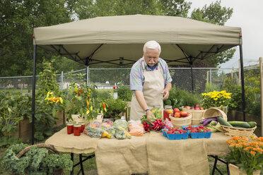 Senior farmer arranging fresh vegetables farmers market stall - HEROF28402