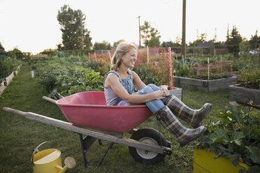 Smiling woman plaid wellingtons sitting wheelbarrow garden - HEROF28441