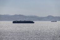Spain, Andalusia, Tarifa, Strait of Gibraltar, Container ship - KBF00591