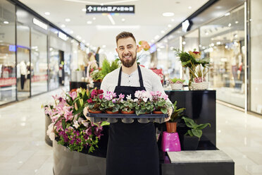 Portrait of smiling florist holding tray of potted plants in flower shop - ZEDF02003