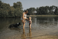 Netherlands, Schiermonnikoog, pregnant mother with daughter and Border Collie in a lake - DWF00331
