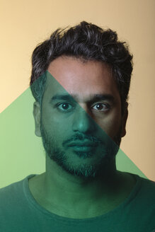 Portrait of an Indian man behind green glass layers - ALBF00795