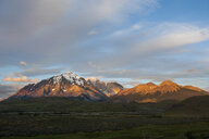 Chile, Patagonia, Torres del Paine National Park, mountainscape in early morning light - RUNF01476