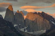 Chile, Patagonia, Torres del Paine National Park, mountainscape in early morning light - RUNF01491