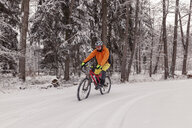 Man riding mountainbike on path in winter forest - SEBF00049