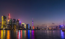 Pudong skyline and Huangpu river at night, Shanghai, China - CUF49822