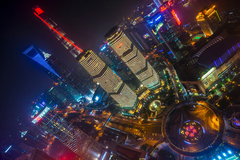 Pudong skyline with Shanghai Tower, Shanghai World Financial Centre and IFC at night, high angle view, Shanghai, China - CUF49834