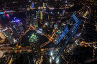 Cityscape with Pudong, Jin Mao Tower and Shanghai Tower at night, high angle view, Shanghai, China - CUF49843