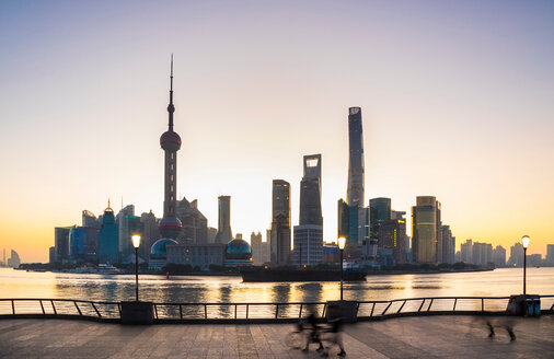 The Bund and Pudong skyline at dawn, Shanghai, China - CUF49855