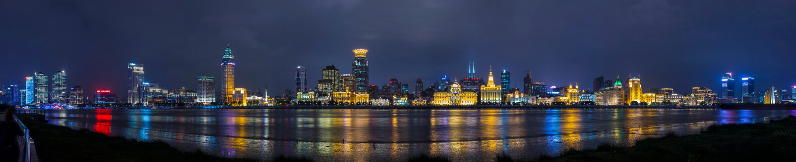 Bund skyline at night, panoramic view,  Shanghai, China - CUF49858