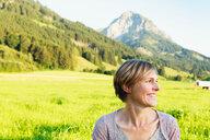 Woman enjoying countryside, Sonthofen, Bayern, Germany - CUF49903