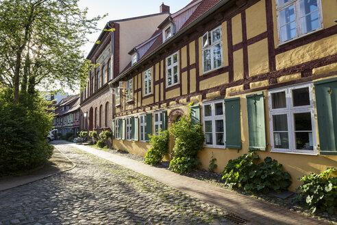 Germany, Mecklenburg-Western Pomerania, Stralsund, former Franciscan Monastery, half-timbered house - MAMF00500