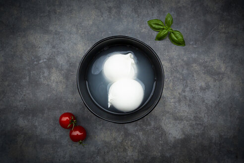 Tomatoes, basil leaves and burrata in bowl, from above - LVF07872