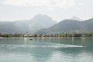 Austria, Alps, Salzburg, Salzkammergut, Salzburger Land, Wolfgangsee, view towards Strobl - GWF06011