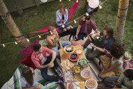 Friends enjoying backyard dinner party - HEROF28841