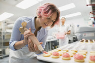 Pastry chef piping cookies pink icing commercial kitchen - HEROF29556