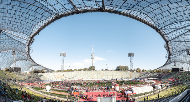 Germany, Munich, Olympic Stadium during marathon - WF00050