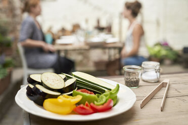 Plate with vegetables, ready for barbecue in a backyard - PDF01794