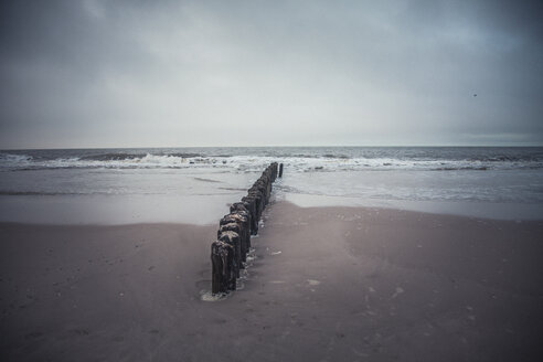 Germany, Sylt, beach, sea, breakwater, winter - ANHF00084