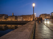 Italy, Tuscany, Florence, Arno, Ponte Alla Carraia at blue hour - LAF02231