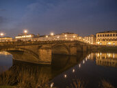 Italy, Tuscany, Florence, Arno river, Ponte alla Carraia at night - LAF02234