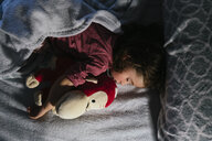 Toddler girl sleeping in bed with a soft toy dog orang-utan - GEMF02909