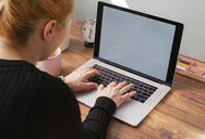 Woman working on laptop at home office - MOMF00641