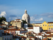Portugal, Lisbon, Alfama, View from Miradouro de Santa Luzia over district, National Pantheon - AMF06843
