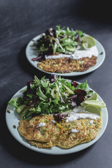 Vegetable cheese fritter with salad on plate - STBF00257