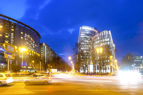 Germany, Hesse, Frankfurt, View of roundabout at Friedrich-Ebert court at blue hour - PUF01369