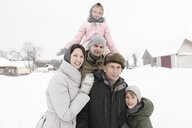 Family portrait with grandfather in winter - EYAF00028