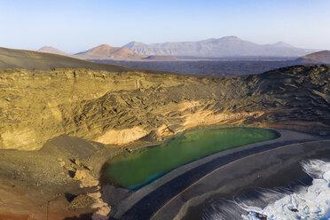 Spain, Canary Islands, Lanzarote, Aerial view of El Golfo, Charco de los Clicos, Montana del Golfo, Lago Verde - SIEF08458