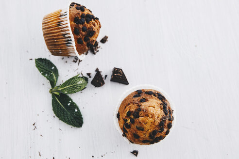Two home-baked muffins with chocolate chips - ERRF00824