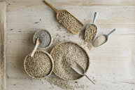 Organic wheat, rye shot, amaranth, spelt, buckwheat and oat on shovels and on wood, from above - ASF06324
