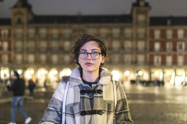 Spain, Madrid, portrait of young woman on Plaza Mayor - WPEF01382